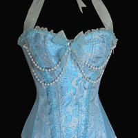 Light Blue Floral Print Pearl Beaded Corset