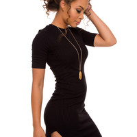 Ada Ribbed Dress - Black