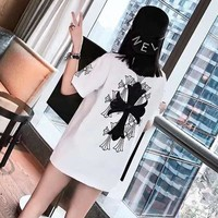 """Chrome Hearts"" Unisex Casual Personality Cross Print Couple Loose Short Sleeve T-shirt Top Tee"