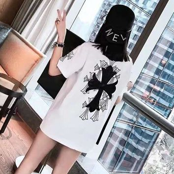 """""""Chrome Hearts"""" Unisex Casual Personality Cross Print Couple Loose Short Sleeve T-shirt Top Tee"""
