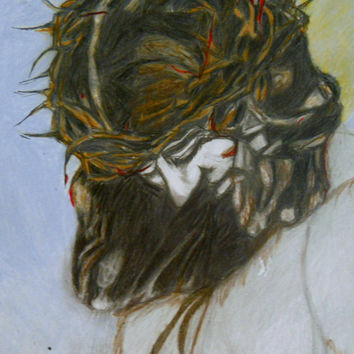 The Begotten Son is a 11x14 colored pencil portrait of Jesus with the painful crown of thorns placed on his head at crucifixion.