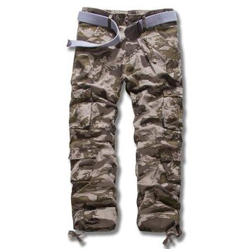 Mens Cotton Loose Fashion Casual Trousers Cargo Pants