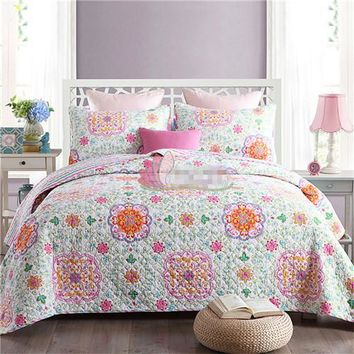 Home textile 3pcs flower bedding cover set red blue cotton 230*250cm quilt bedspread style outlet bedding