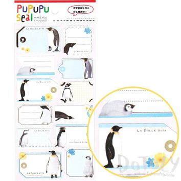 Emperor Penguin Glossy Photo Label Index Stickers for Scrapbook and Card Making