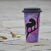 Purple Ceramic Travel Mug - Animal Silhouette Eco cup - Hand Painted Coffee Mug with Lid - Office Mug