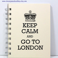 Travel Journal Notebook Diary Sketch Book - Keep Calm and Go To London - Ivory