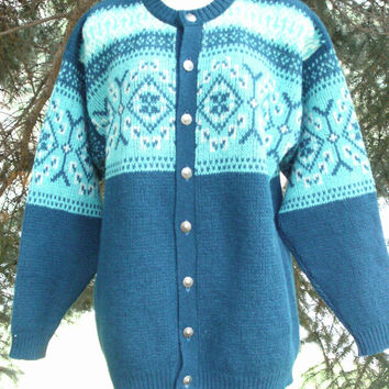On Sale 60's Turquoise Nordic Wool Cardigan Sweater Scandinavian Knit
