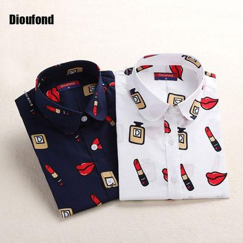 White Navy Lips Print Women Blouses Long Sleeve Ladies Office Blouse Shirt