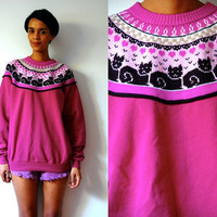 Vtg Winter Cats Print Fair Isle Purple Sweater