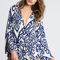 Surf Gypsy Long Sleeve Swirl Print Romper in Ivory and Royal