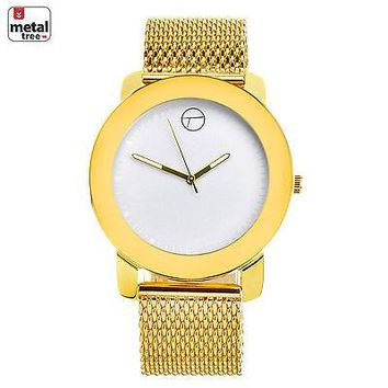 Jewelry Kay style Men's Fashion 14K Gold Plated Metal Mesh Band Watches WM 8152 GWH