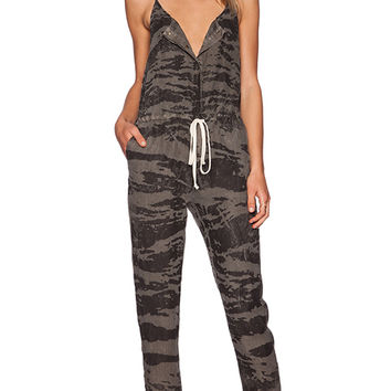 Enza Costa Linen Strappy Jumpsuit in Olive