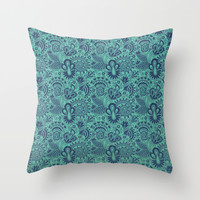 Blue Skin Throw Pillow by Tony Vazquez