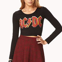 FOREVER 21 Favorite AC/DC Crop Top Black/Red