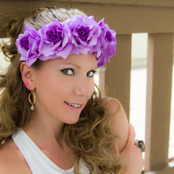 Purple Rose Flower Crown, Flower Headband, Bridesmaid Dress, Coachella Crown, Electric Daisy Carnival, Burning Man, Bonnaroo, PLUR, Ezoo