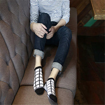 2016 New Hot Mens Womens Grid Spring Summer Casual Sports Warm Stockings (5 PCS) Socks-27