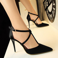 Brand New Spring Women Pumps Cross tie Satin Ankle Strap High-heeled Wedding Shoes Thin High Heel Shoes Pointed Stiletto Elegant