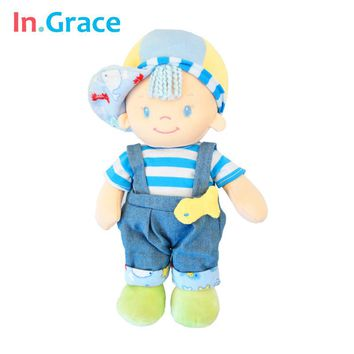 In.Grace 2016fashion cute baby toys baby stuffed sleeping calm dolls with fish baby kawaii plush born dolls with hat 30CM blue