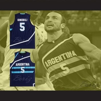 Manu Ginobili 5 Argentina Basketball Jersey Any Player or Number