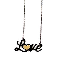 Love Acrylic & Brass Necklace