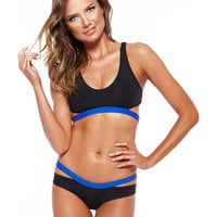 Strappy Contrast Color Gatherround Bikini