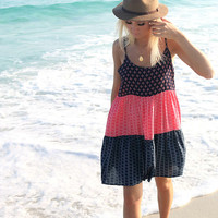 Fort Lauderdale Navy And Coral Print Color Block Tiered Sundress