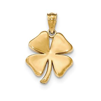 14k Yellow Gold Polished Four Leaf Clover Pendant, 17mm (5/8 inch)