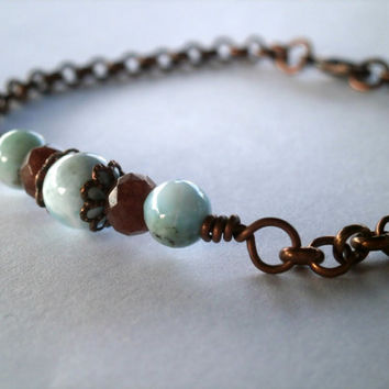 Larimar Bracelet. Natural Gemstone Bracelet Garnet Crystals Dominican Larimar Jewelry under 40. Copper Chain. OOAK. Blue and Brown Bracelet.