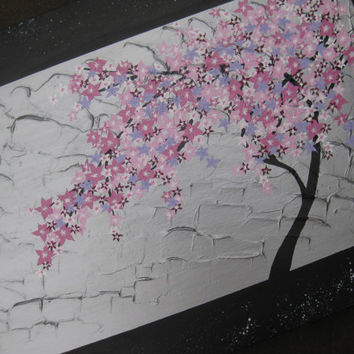 pink purple silver gray grey painting of a tree with pink cherry blossom- variety of sizes and colors available- abstract art on canvas