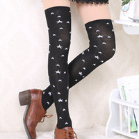 Black Contrast Star Print Over-the-Knee Socks