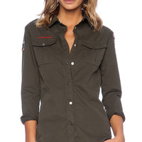 Etienne Marcel Button Up Top in Olive