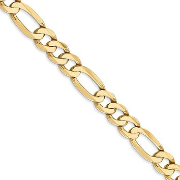 Men's 7mm, 14k Yellow Gold, Flat Figaro Chain Necklace