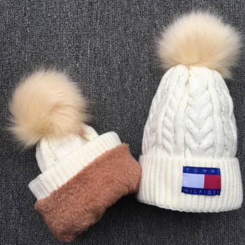 Tommy hilfiger Women Men Embroidery Beanies Knit Hat Warm Woolen Hat White