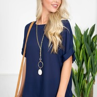 Navy Jane Sheer Top