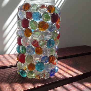Colorful Glass Gem Luminary Candle Holder