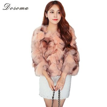 DOSOMA Imitation fox fur coats women elegant fur jacket 2017 Fashion winter thick warm outerwear three quarter fake fur jackets