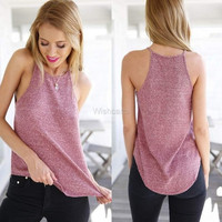 Fashion Women Strap Solid Asymmetric Hem Casual Loose Tank Tops = 5617681921