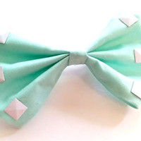 Mint and White Studded Hair Bow
