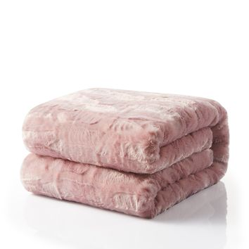 Tache Faux Fur Dusty Rose Pink Throw Blanket (#7)