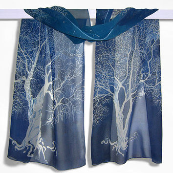 Silk scarf White Tree of Gondor long Silk Scarves hand painted LOTR- dark blue white