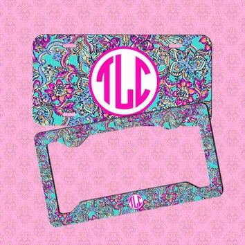 monogram license plate frame lilly pulitzer inspired car tag frame license plate personalized