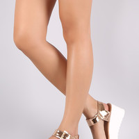 Patent Open Toe Ankle Strap Flatform Wedge