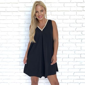 Lydia Diamond Shift Dress in Black