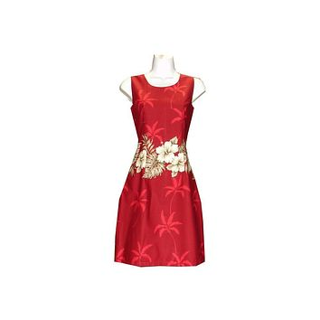 KY's Red with Hibiscus and Palm Trees Short Tank Dress