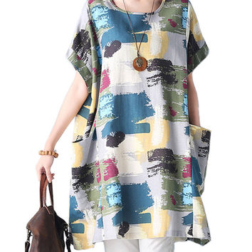 O-NEWE Casual Loose Boho Round Neck Floral Printed Dresses
