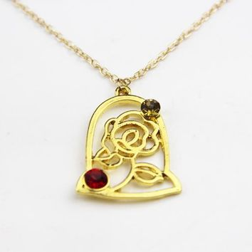 ZRM Fashion Jewelry Gold Charm Beauty And The Beast Necklace Rose In Terrarium Pendant Necklace Men Women Gifts