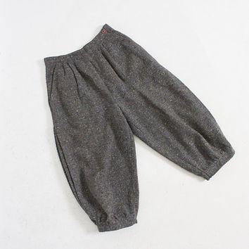 Vintage 1970s Cropped Pants -  Grey Fleck Wool Blend Pleated High Waist Trousers 1980s - Extra Small XS