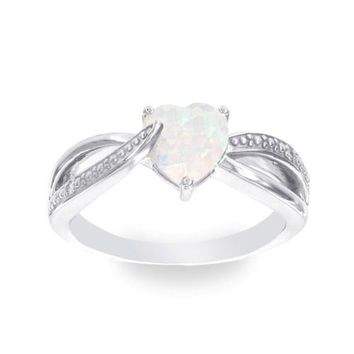 Sterling Silver 7mm Heart White Opal Genuine Diamond Accented Infinity Inspired Ring