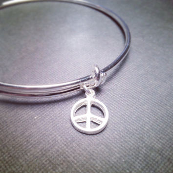 Silver Bangle with Peace Sign Charm