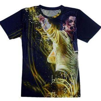 Summer Style New 2015 Fashion men's 3d T-shirt print King of Rock Roll Michael Jackson t shirt for women/Boy singer star tshirt
